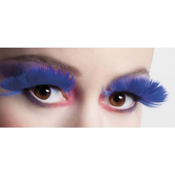 Faux-cils plume bleu