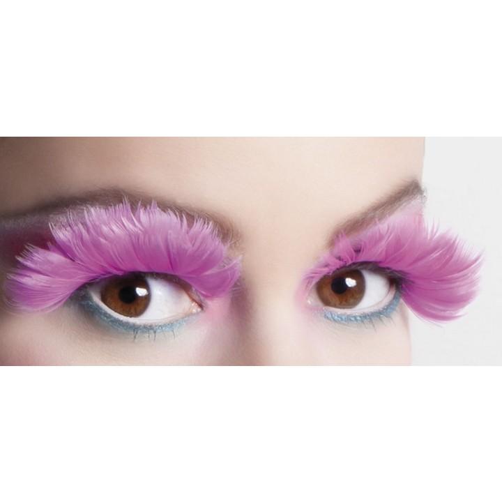 Faux-cils plume rose vif