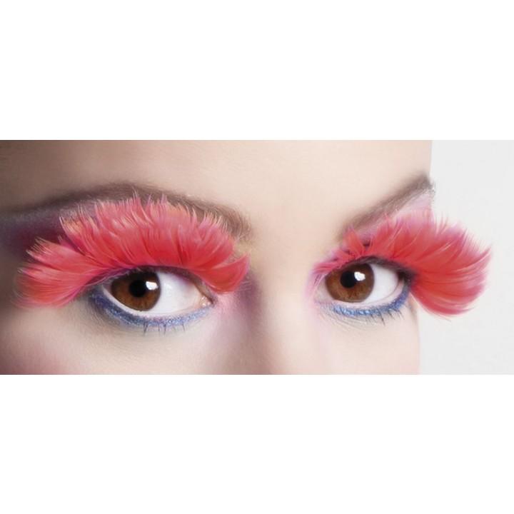 Faux-cils plume rouge