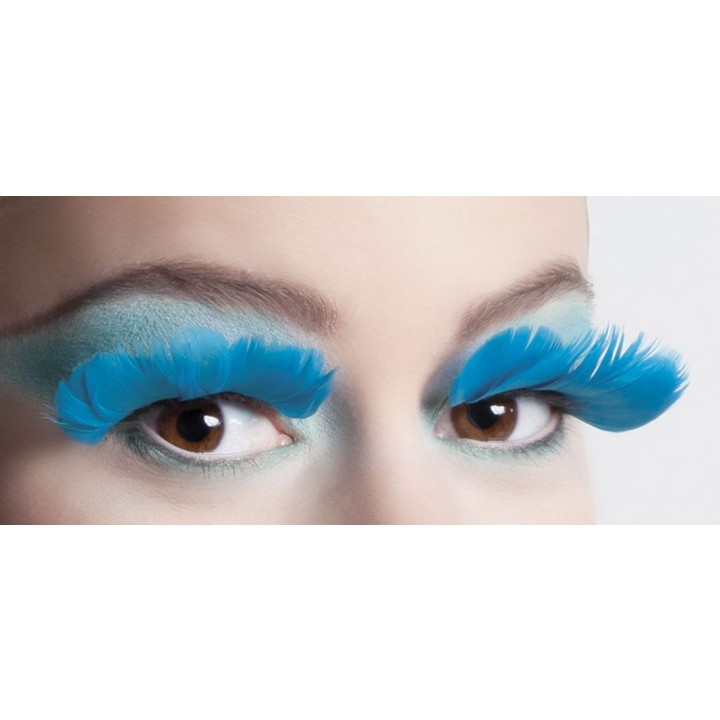 Faux-cils plume turquoise