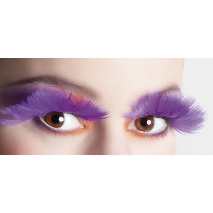 Faux-cils plume violet