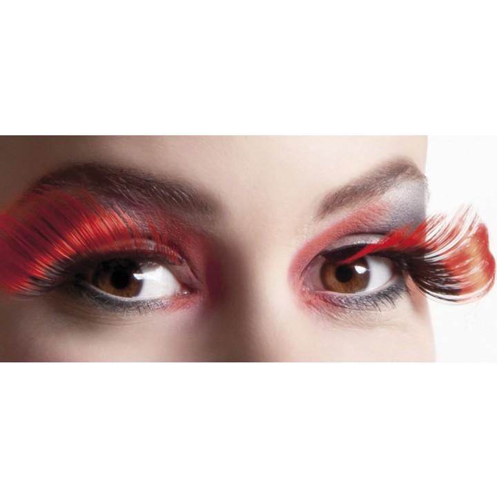 Faux-cils rouges/noirs flamboyants