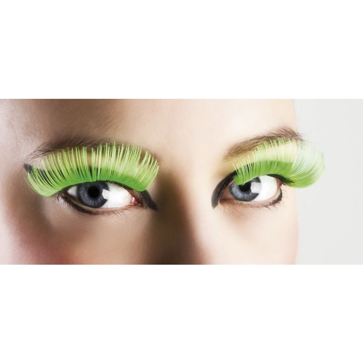 Faux-cils vert fluo XL