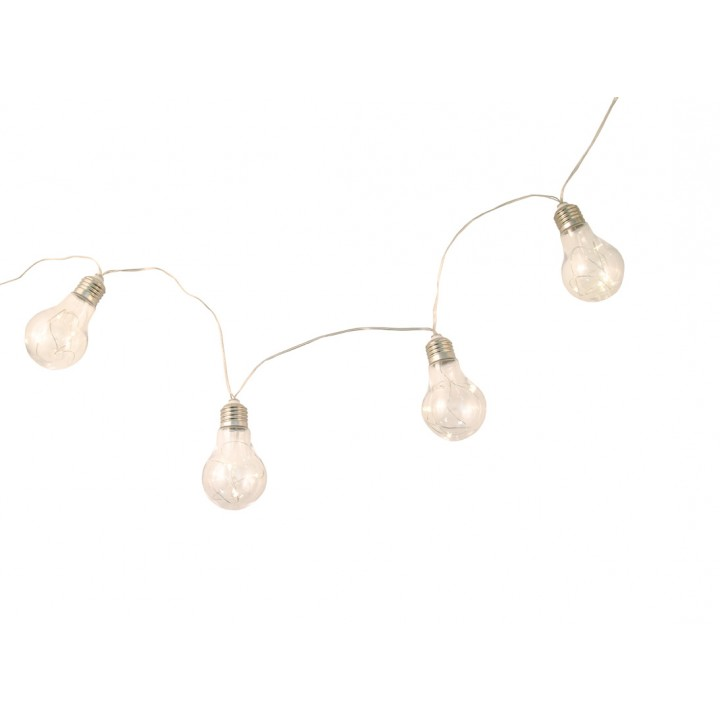 Guirlande 10 ampoules et 50 leds blanc chaud 2m