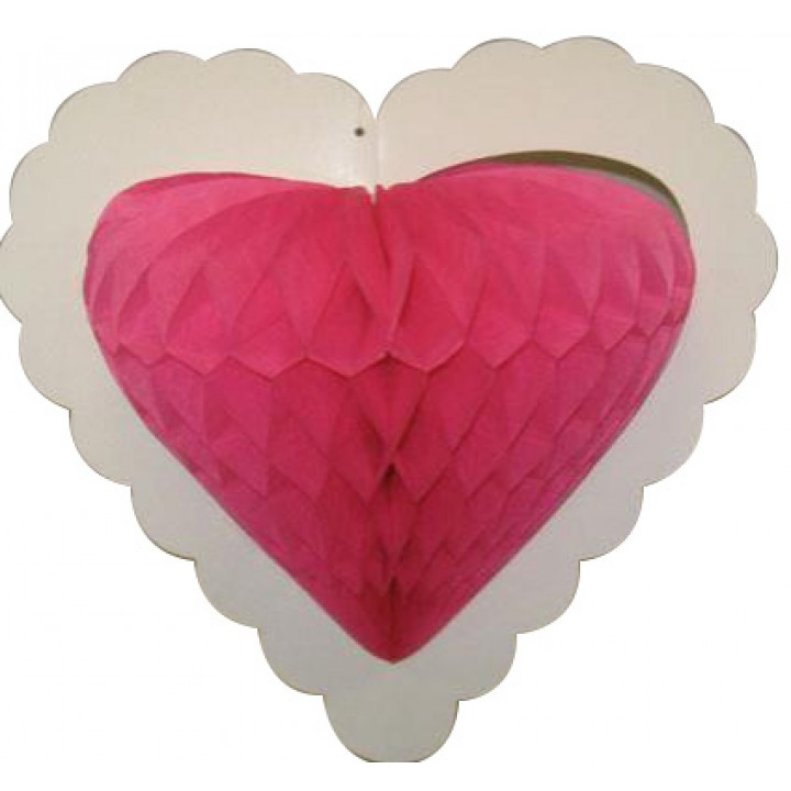 Guirlande 10 cœurs fuschia alvéolés sur ruban 4 m