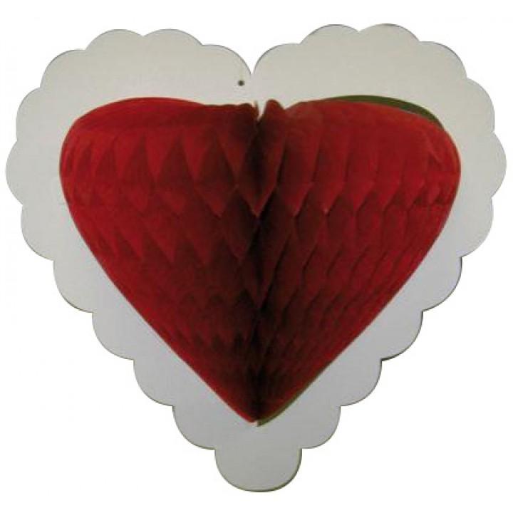 Guirlande 10 cœurs rouges alvéoléss sur ruban 4 m