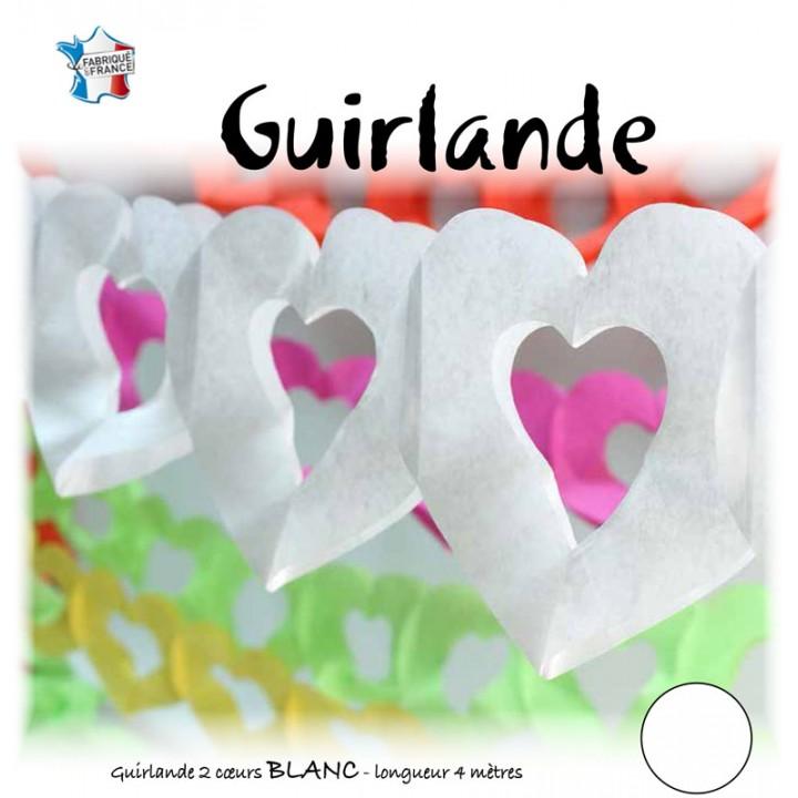 Guirlande 2 cœurs blancs 4 m