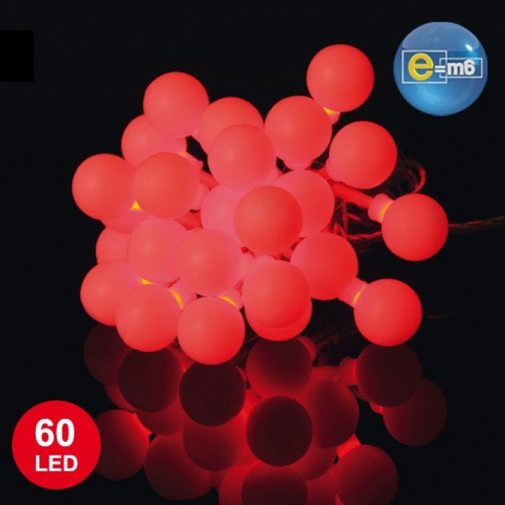 Guirlande Boule 60 leds rouges 8 fonctions 5 m