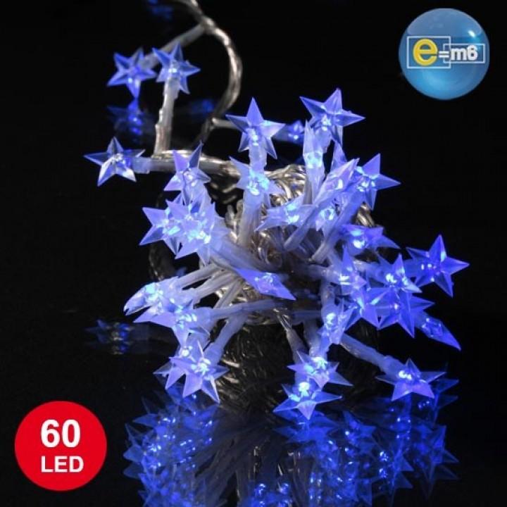 Guirlande Etoile souple 60 leds bleues 8 fonctions 5 m