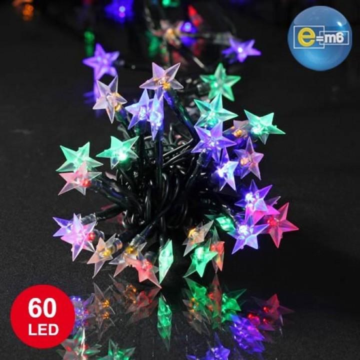 Guirlande Etoile souple 60 leds multicolores 8 fonctions 5 m