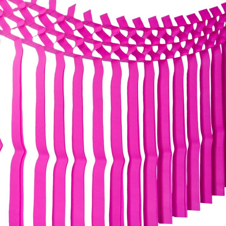 Guirlande franges fuschia 3m x 70 cm