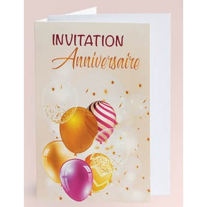 Lot de 10 cartes d'invitation blanches impression or + enveloppe