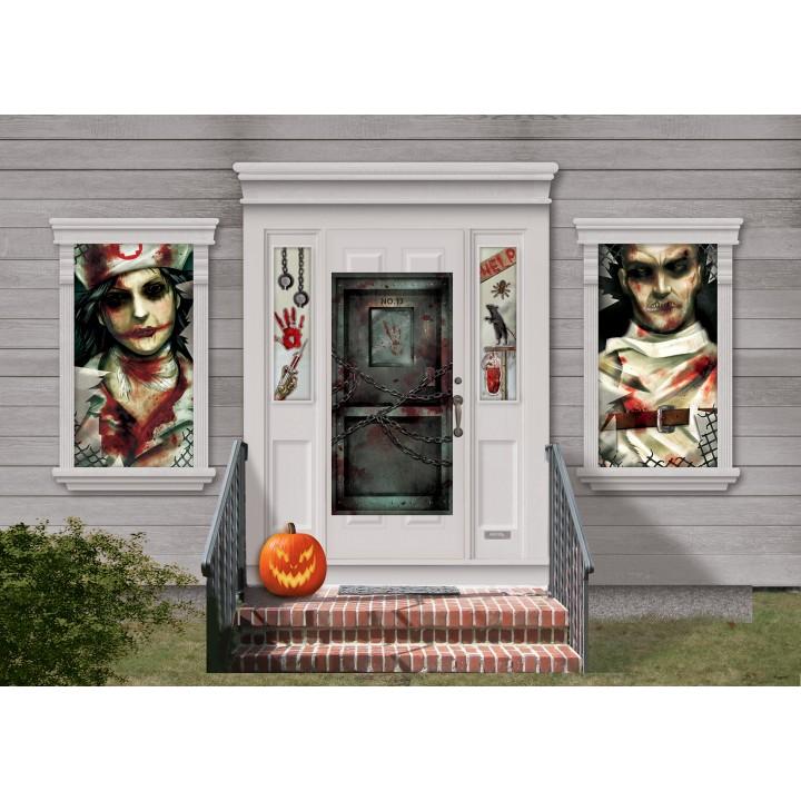 Kit Scene setter Entrée dans la  clinique de l'horreur Halloween  33 pièces