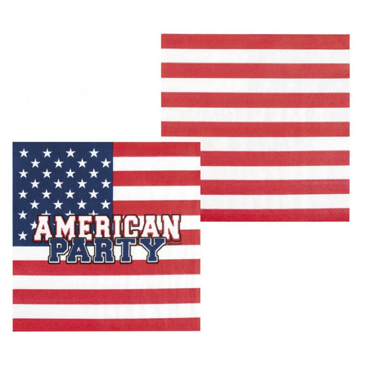 Lot de 12 serviettes USA en papier 33 x 33 cm