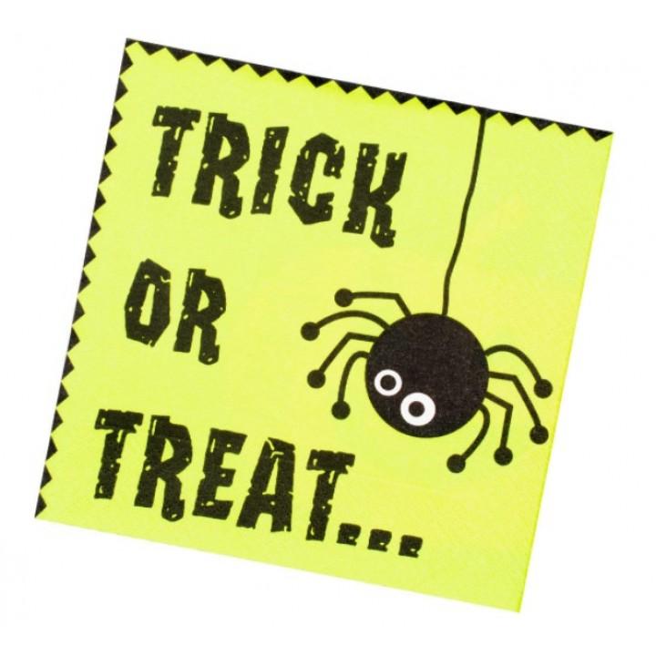 Lot de 16 Serviettes jetables Trick or Treat Halloween 33 x 33 cm