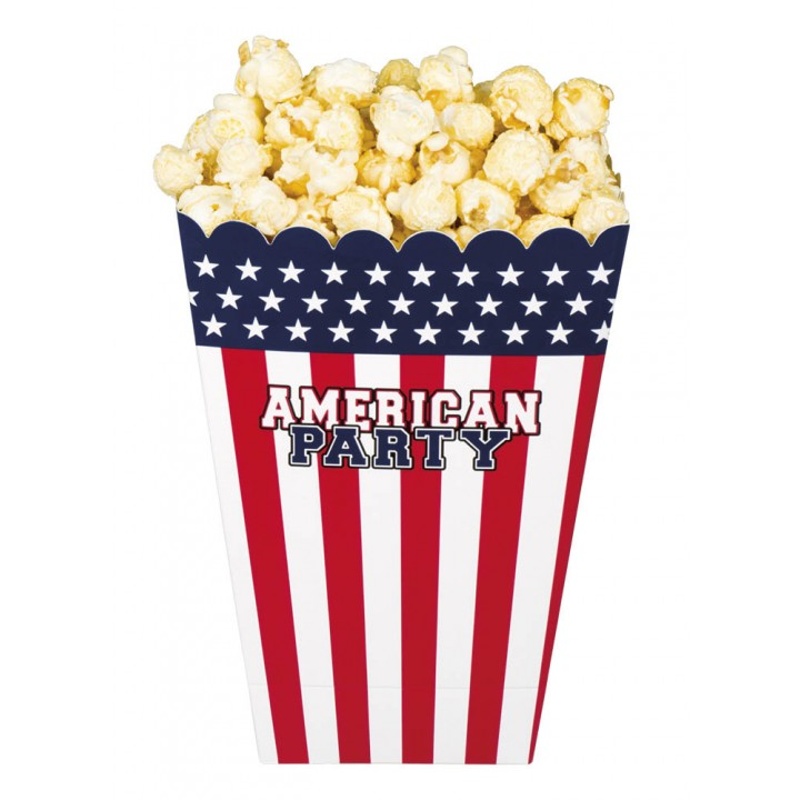 Lot de 4 bols jetables à popcorn USA