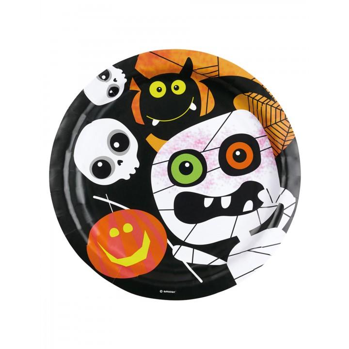 Lot de 8 Assiettes jetables Trick or Treat Halloween 23 cm