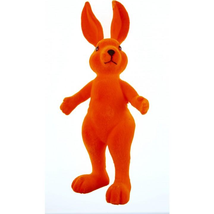 Lapin flocké orange debout 13,5 x 31 cm