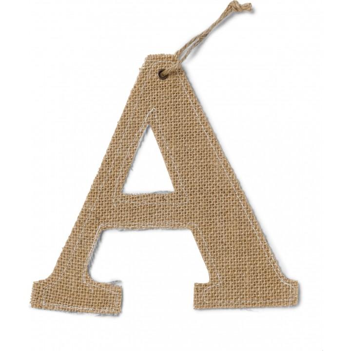Lettre A en jute 15,5 cm
