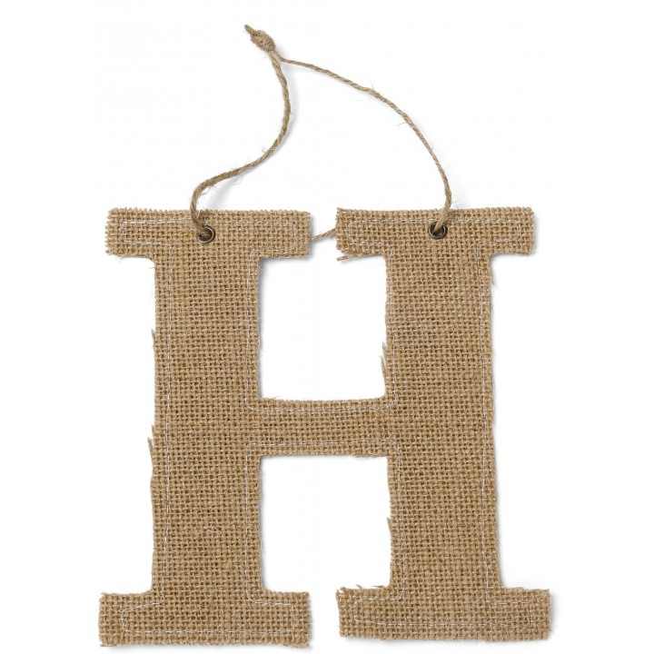 Lettre H en jute 15,5 cm