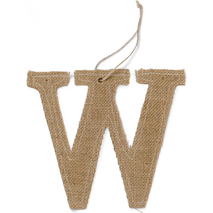 Lettre W en jute 15,5 cm