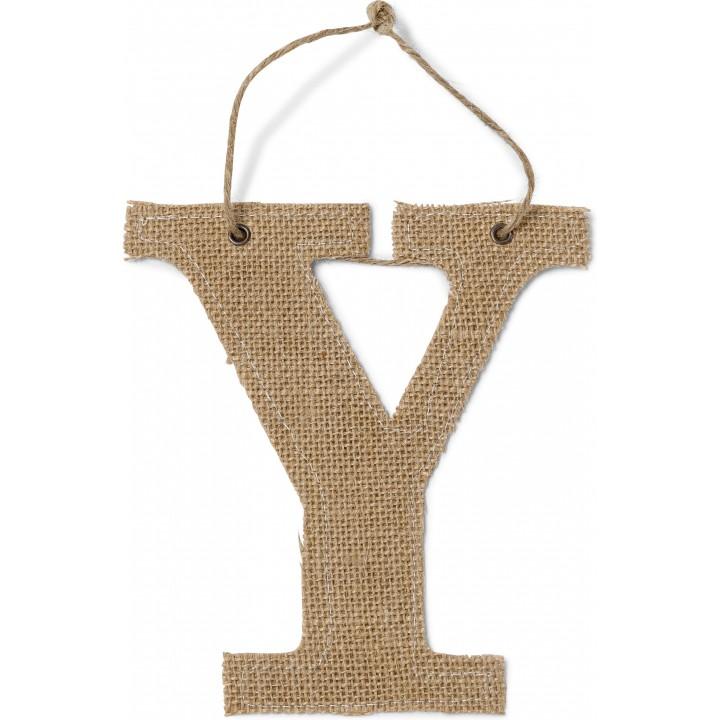 Lettre Y en jute 15,5 cm