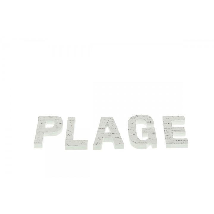 Lettres PLAGE blanche en bois 8 cm