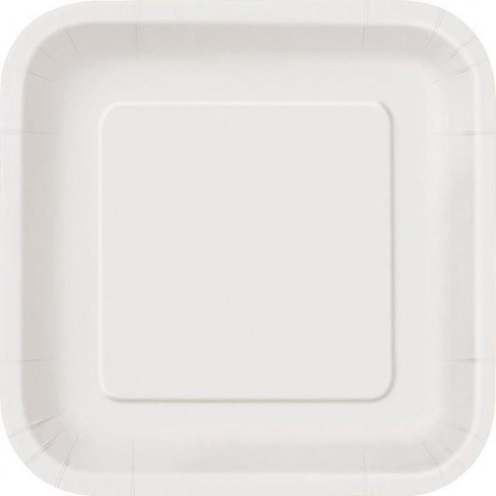 Lot de 10 assiettes carrée en carton blanc