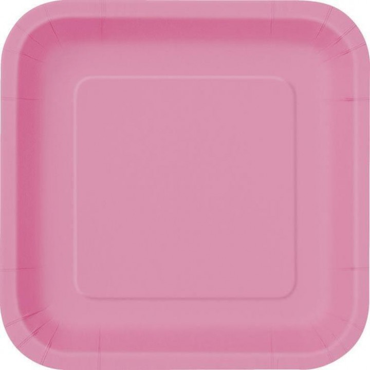 Lot de 10 assiettes carrée en carton fuschia