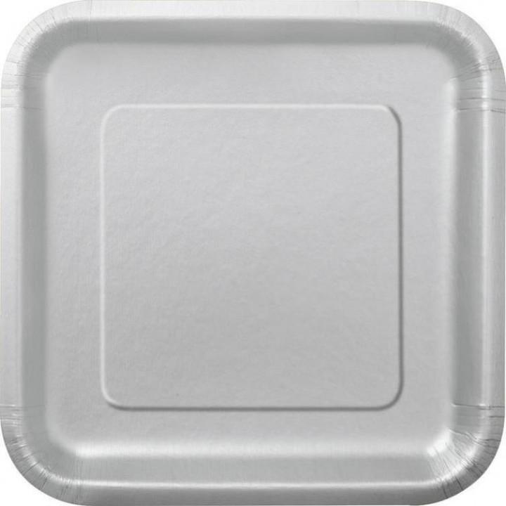 Lot de 10 assiettes carrée en carton gris