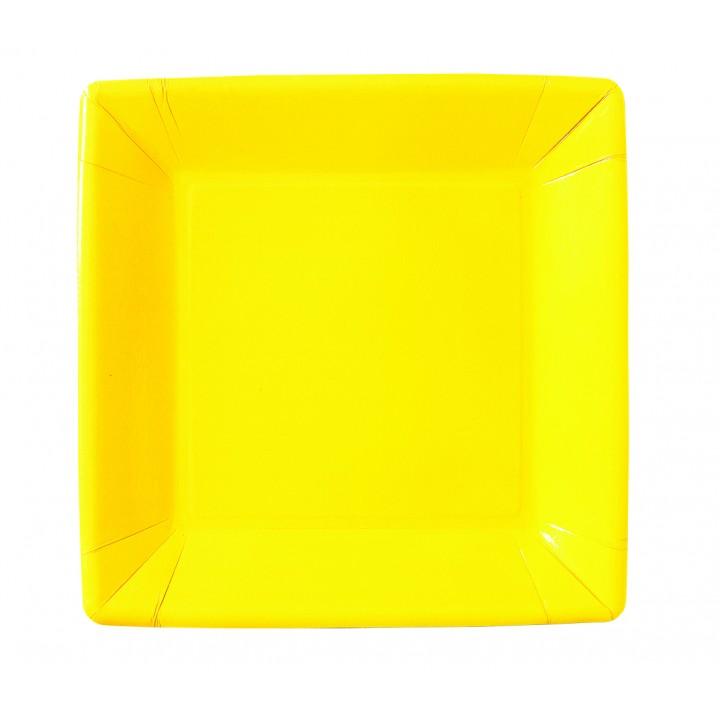 Lot de 10 assiettes carrée en carton jaune