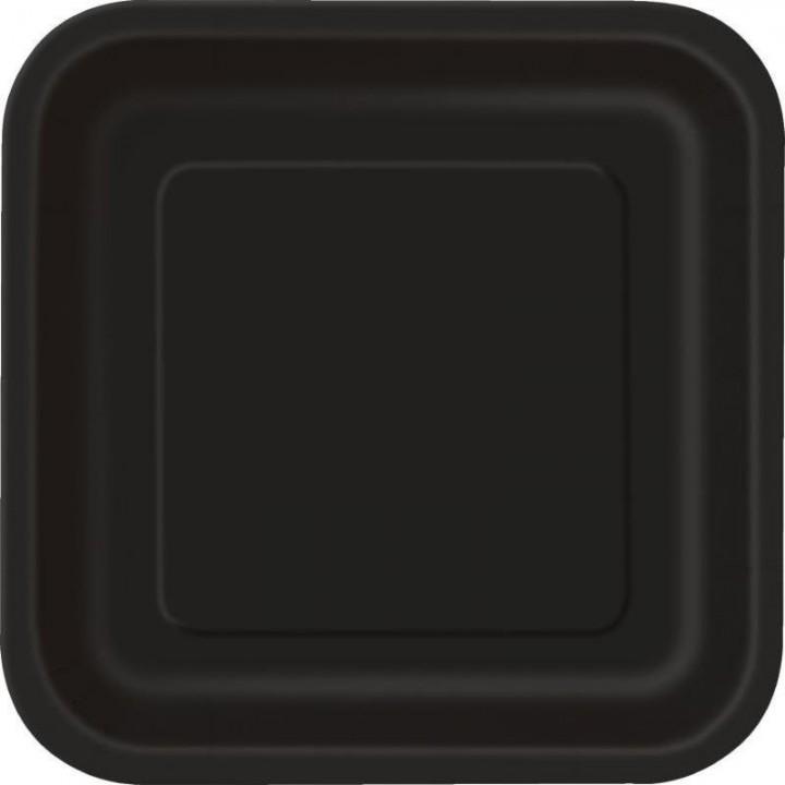 Lot de 10 assiettes carrée en carton noir