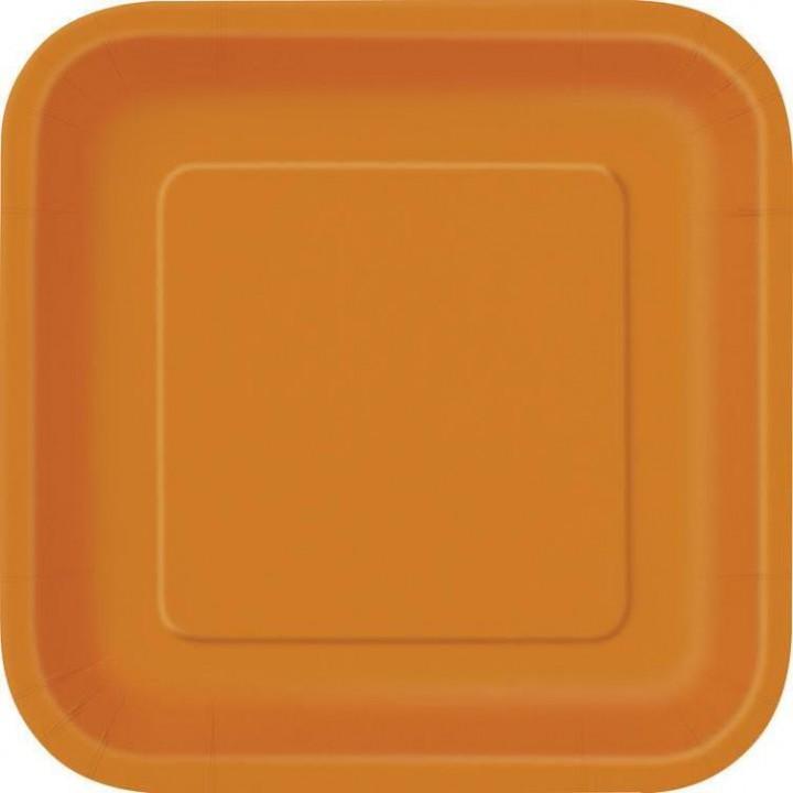 Lot de 10 assiettes carrée en carton orange