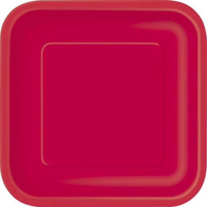 Lot de 10 assiettes carrée en carton rouge