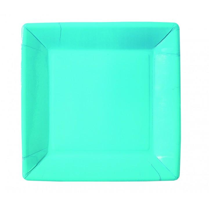 Lot de 10 assiettes carrée en carton turquoise