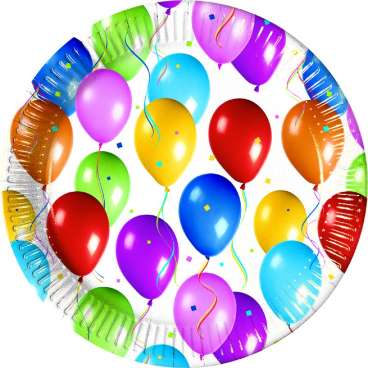 Lot de 10 assiettes jetables Balloons Fiesta en carton 23 cm