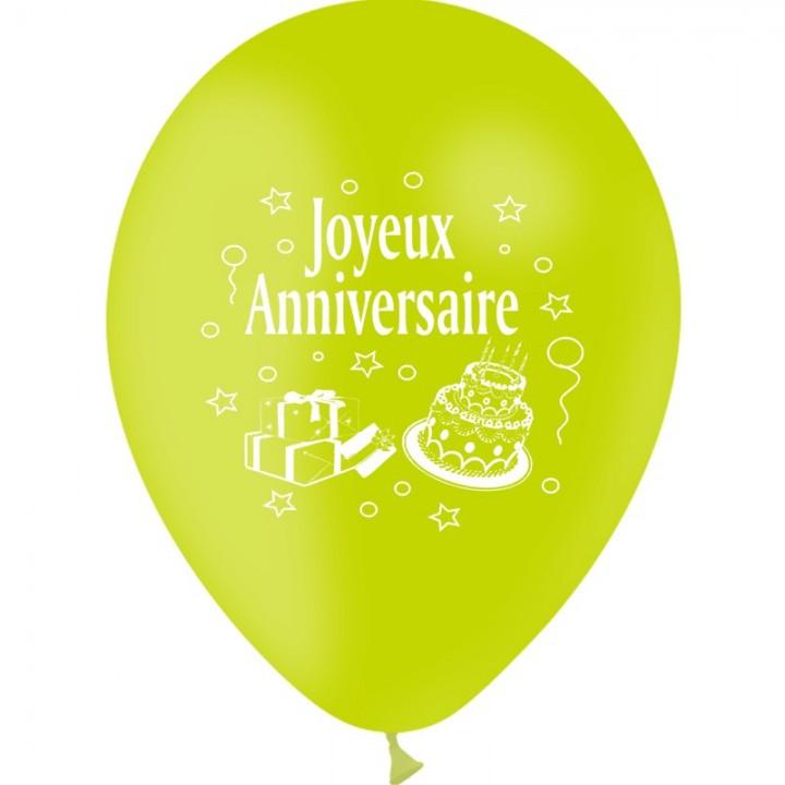 Lot de 10 ballons de baudruche anniversaire en latex D 25 cm