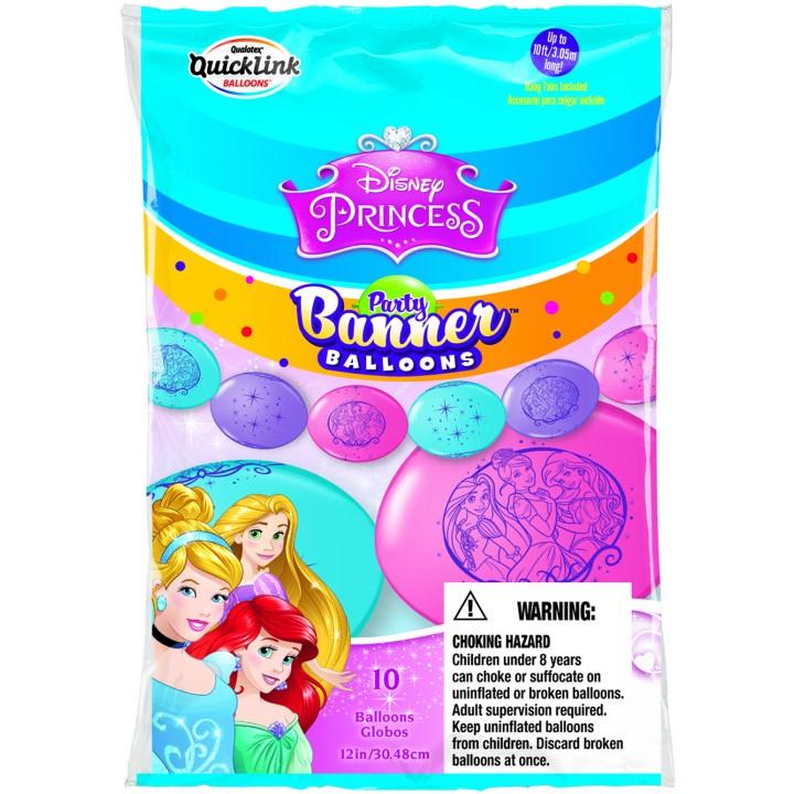 Lot de 10 ballons double attache Princesse en latex 30 cm