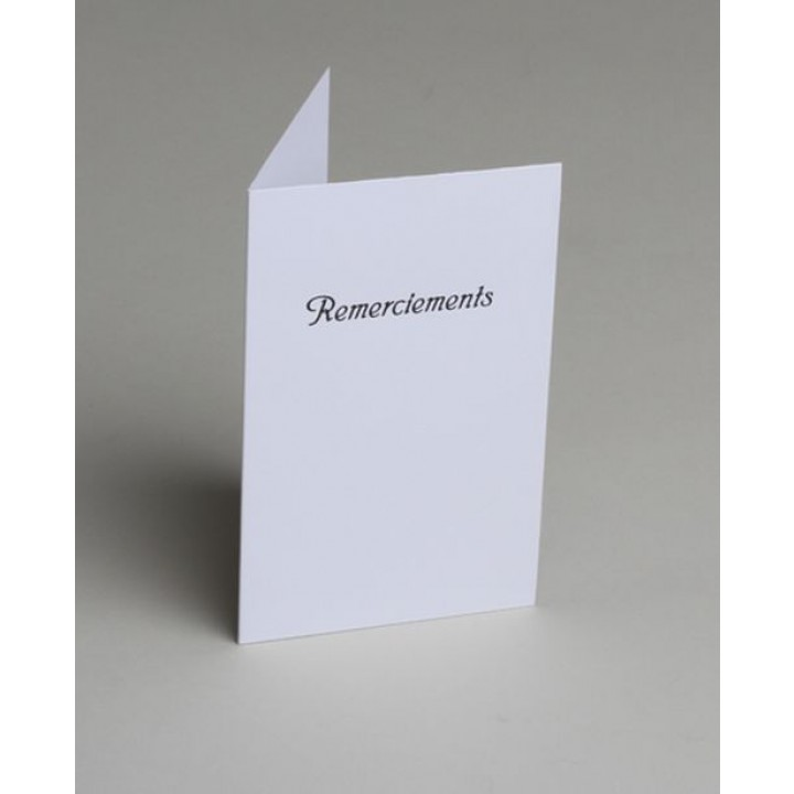 Lot de 10 cartes de remerciements blanches impression noire avec enveloppe