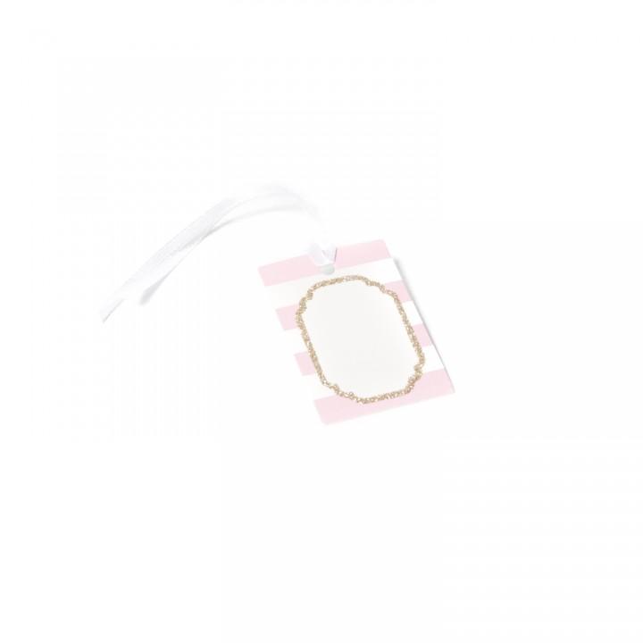 Lot de 10 étiquettes Baby rose/blanc pailleté champagne 6 x 4 cm