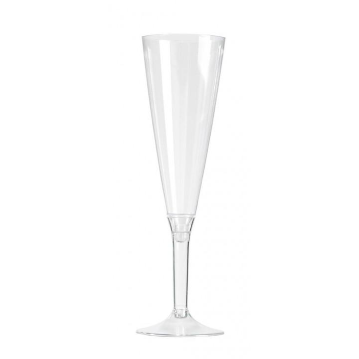 Lot de 10 flûtes à champagne jetables en plastique transparent