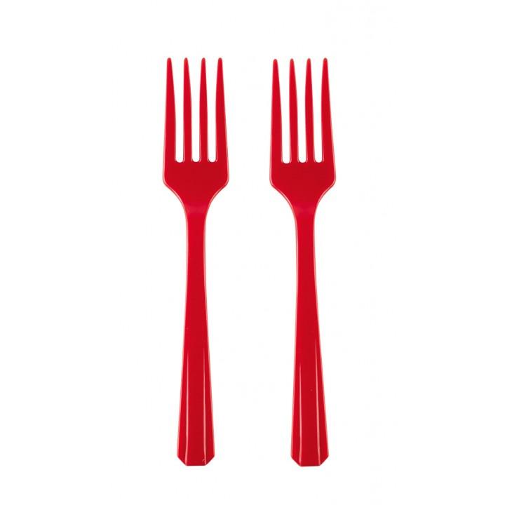 Lot de 10 fourchettes rouges BBQ Party en plastique