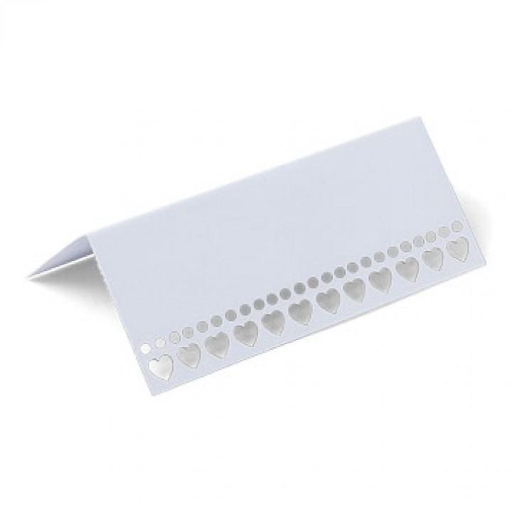 Lot de  10 marque-place Cœur blanc 9,5 x 4 cm