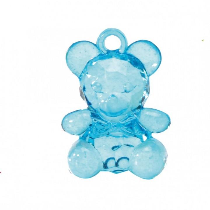 Lot de 10 Oursons en plastique turquoise à suspendre 3,4 cm