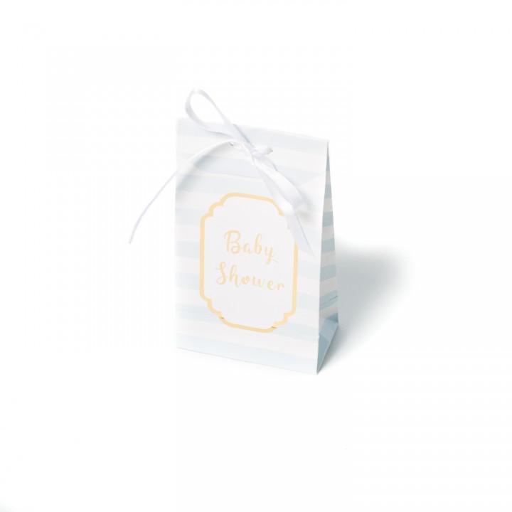 Lot de 10 pochettes Baby shower ciel et or 12,5 x 7,5 cm