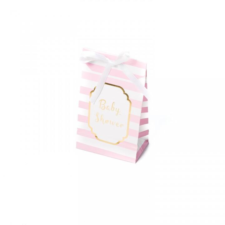 Lot de 10 pochettes Baby shower roses et or 12,5 x 7,5 cm