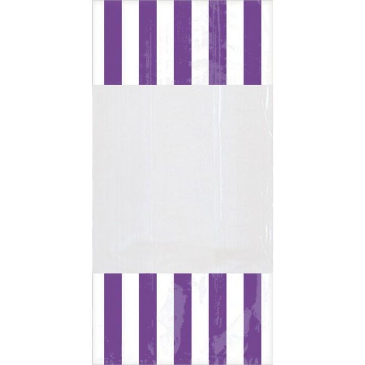 Lot de 10 sachets rayés violet
