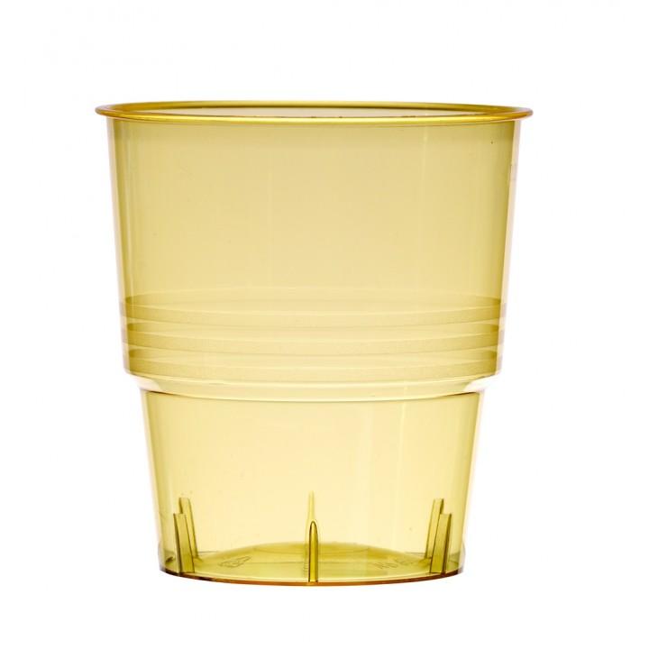 Lot de 10 verres jetables en plastique jaune transparent