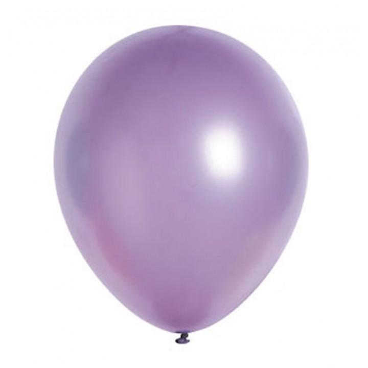 Lot de 100 ballons en latex nacré métallisé lilas