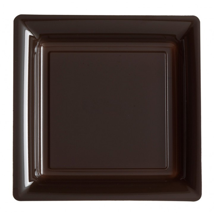 Lot de 12 assiettes carrées jetables chocolat GM